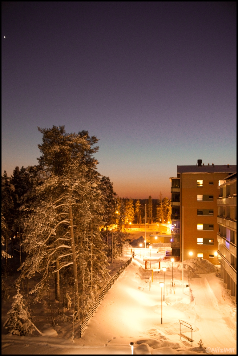 Winter sunset from balcony